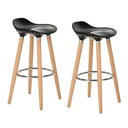 FurnitureR Juego de 2 taburetes, taburete de bar moderno, cómodo y sin brazos, taburetes de bar de altura de mostrador Bistro Pub, taburetes de bar sin respaldo con patas de...