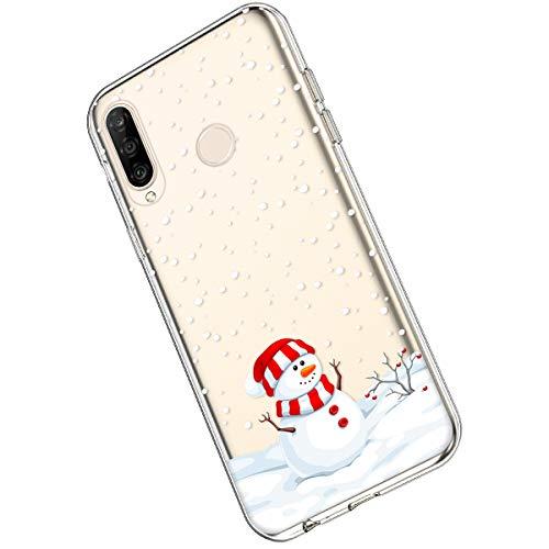Ukayfe Compatibile con Huawei P30 Lite Custodia [Natalizie Xmas Decorazioni] Trasparente TPU con Natale Disegni Ultra Sottile Morbido Silicone Gel Clear TPU Christmas Phone Case,Natale #19