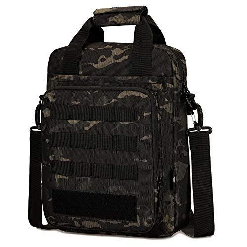 BAIGIO Tactical Shoulder Messenger Bag Mens MOLLE Handbag 14 Inch Laptop Computer Briefcase for Outdoor Sports Everyday Use, Camo Black