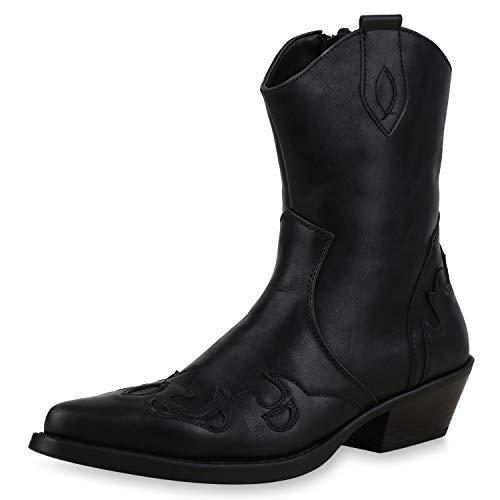 SCARPE VITA Herren Cowboy Boots Prints Profilsohle Leder-Optik Schuhe Stickerein 172461 Schwarz 40