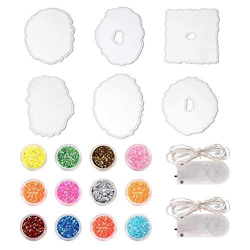 Vingtank - Set di 6 stampi in resina epossidica con 2 luci a LED in resina colata e 12 polveri mica per il fai da te, per sottobicchieri, candelabri, decorazione da tavolo, artigianato