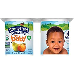 Stonyfield Organic, YoBaby Peach and Pear Whole Milk Yogurt, 4 oz, 6 Count