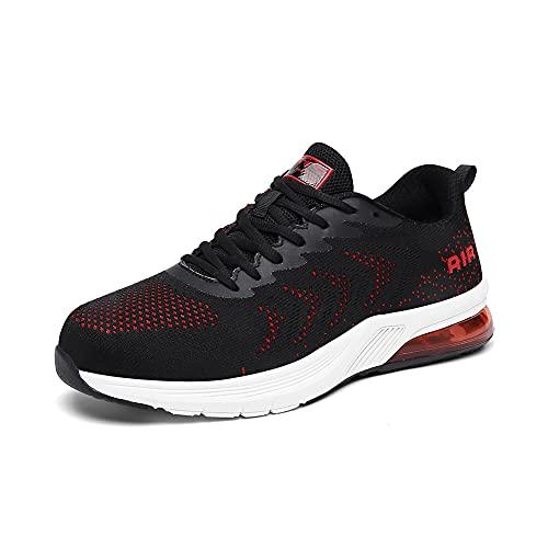 Zapatillas Running Hombre Mujer Deportivas Air Zapatos para Correr Gimnasio Sneakers Deporte Padel Casual Calzado Deportivo Moda Transpirable Negro Rojo 1950blackred43