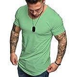 Camisetas Hombre Manga Corta Baratas SHOBDW 2019 Blusas Color Sólido Cómodo Tallas Grandes Tops Verano Camisetas Hombre Basicas Cuello Redondo Venta de liquidación M-3XL(Verde 3,XL)