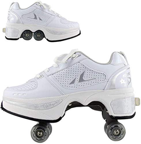 ASDASD Zapatos de deformación Patines de Ruedas Niños Estudiantes Zapatos de Ruedas Zapatos de Skate Patinaje Deportes al Aire Libre Lazy Travel Fashion Blue-36-Blanco_32