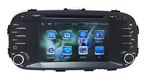 XTTEK 7 inch Touch Screen in Dash Car GPS Navigation System for Kia Soul 2014 2015 2016 DVD Player+Bluetooth SWC+Backup Camera+North America Map