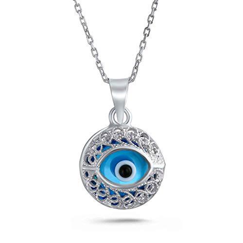 Türkische Schutz Vintage Stil Runde Filigrane Böser Blick Charm Anhänger Mit Halskette Für Damen Sterling Silber