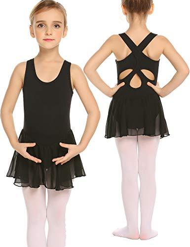 Bricnat Mädchen Ballettkleid Ärmellos Kinder Ballettkleidung Baumwolle Ballettanzug Tanzkleid Tanzbody mit Rock Tütü Ballett Trikot Ballettbody Sommer Rosa/Schwarz/Lila/Blau