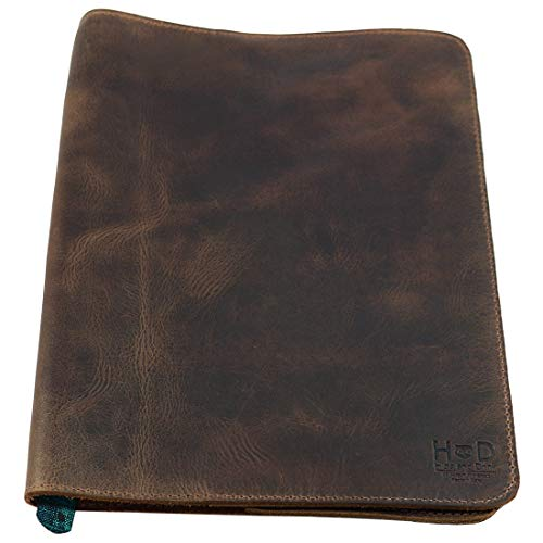 Hide & Drink, Rustic Leather Refillable Journal Cover for Moleskine Cahier XL (7.5 x 9.75 in) w/Tipico Strap, Handmade Includes 101 Year Warranty :: Bourbon Brown