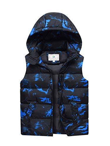 LAUSONS Jungen Winterweste Camouflage Wasserdicht Winndicht Kinder Outdoor Steppweste mit Abnehmbarer Kapuze Blau 164-170 / Größe 170cm