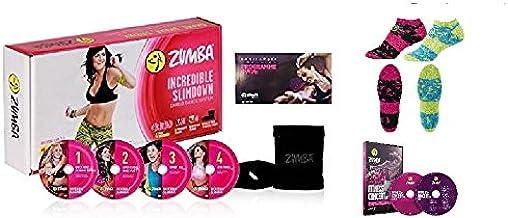 Zumba Incredible Slimdown Set con 4 DVD, idioma alemán, DVD Live Zumba 2 (DVD + CD), calcetines, funda y plan de nutrición