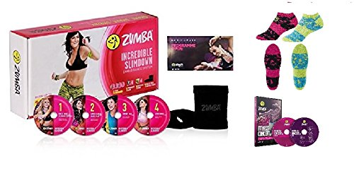 Zumba Incredible Slimdown Set mit 4 DVDs, Deutscher Sprache+DVD Live Zumba 2er Set (DVD+CD) + Socken 2er Set + Stülper + Ernährungsplan