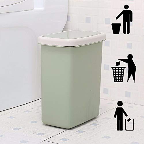 DelongKe Push Type afvalbak slanke vuilnisbak voor keuken toilet Clamshell Cover Pop Up afvalbak groen