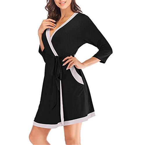Damen Morgenmantel Kimono mit Taschen Bademantel Satin Kurz Robe Nachthemd Nachtwäsche Mit Blumenspitze,Modal sexy Nähmantel Bademantel schwarz XL