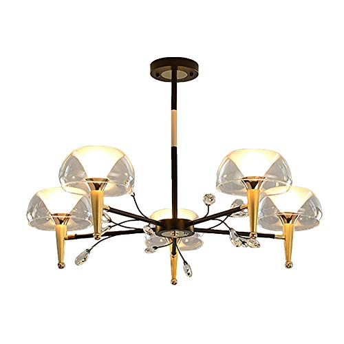 Lámpara colgante de vidrio esférico con 5 luces, lámpara de techo de medusa de creatividad industrial moderna, lámpara de candelabros LED para isla de cocina, bar, comedor, cafetería