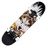 LYLSXY Mini Skateboard, Monopatín Complete Skate Board Longboards al Aire Libre para Adolescentes, Adultos, Principiantes (Color : Wolf Warrior)