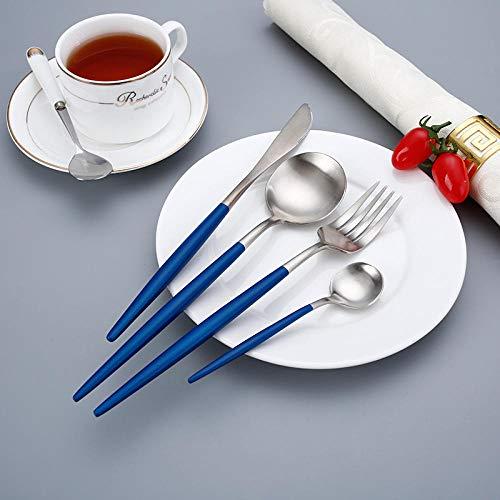 Posate Set di 24 Pezzi, Posate per forchetta e Cucchiaio in Acciaio Inossidabile 304 Satinato Uso Multiuso per casa, Hotel e Matrimonio-Argento Blu