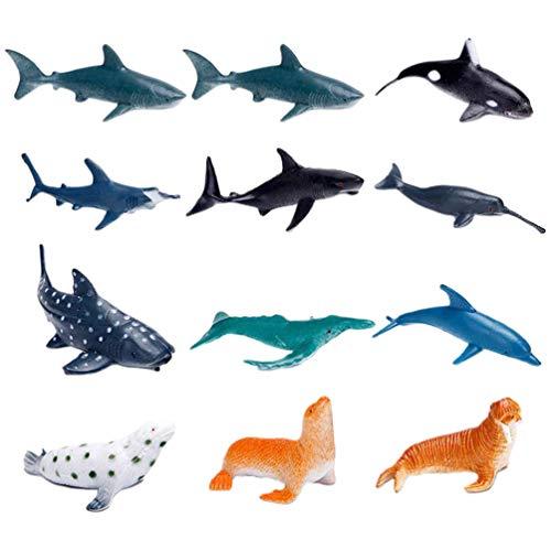 Toyvian 16 Stücke Meerestiere Spielzeug Siegel Hai Delphin Pinguin Figur Set Mini Tierfiguren Dekofigur Spielfiguren Kindergeburtstag Mitgebsel Geschenk für Baby Kinder (Gemischt)
