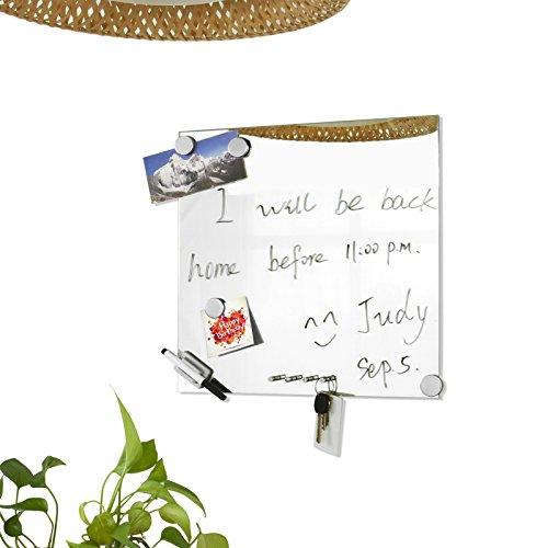 SoBuy FRG46 Memoboard Tableau mémo miroir 40 x 40cm avec porte clés, aimants, feutre et fixations murales