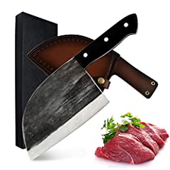 MATERIAL-- First you need to know this is a knife handmade forged from high carbon steel and high manganese steel. It is not made of stainless steel, so after each use, you may need keep it clean and dry to resist rust. But high carbon steel has a be...