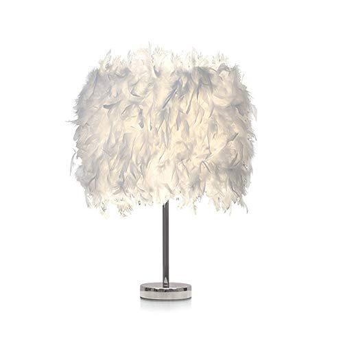 Feather Table Lamp Bedside Table Light 25 x 18CM Bedroom Desk Night Lampshade Modern Elegant for Living Room Reading Sitting Room Decoration