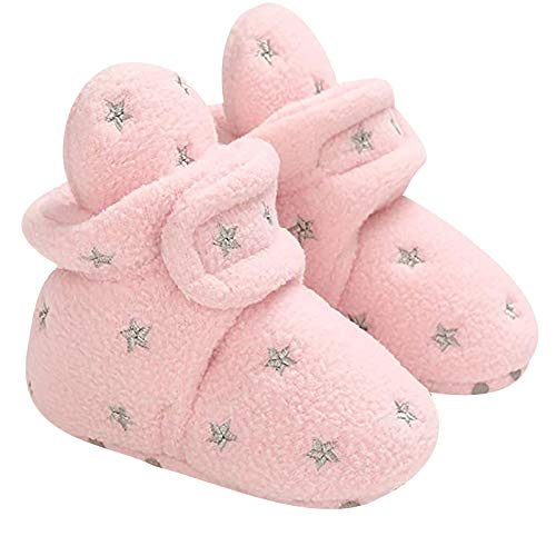 Amuse-MIU MIU Neugeborene Warme Winterschuhe, rutschfeste Bootie Sock Schuhe Winter Weiche Sohle Krabbelschuhe Baby Jungen Mädchen Prewalker Kleinkind Schuhe,3-12 Monate (Rosa, Alter: 9-12 Monate)