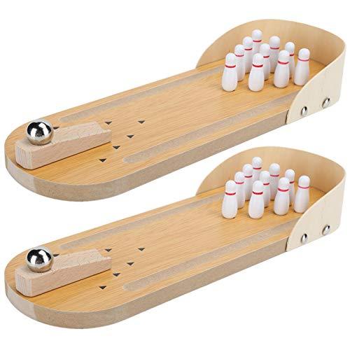 SALUTUYA Mini-Bowlingspiel, glatt, Tisch-Bowlingspiel, Holz, 29,9 x 10,2 cm, für Familien auf dem Tisch und im Regal