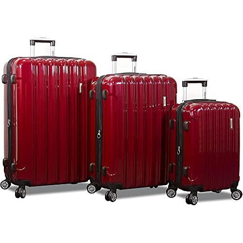 Dejuno Titan Jumbo Hardside 3-PC Spinner Luggage Set with TSA Lock, Burgundy, One_Size