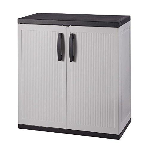 hdx storage cabinets HDX 35 in. W 2-Shelf Plastic Multi-Purpose Base Cabinet in Gray