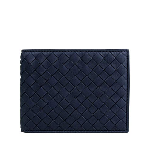Bottega Veneta Men's Intercciaco Blue Leather Woven Bifold Wallet 148324 4130