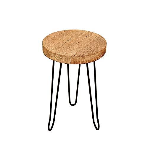 Table XIAOYAN Mesa Lateral de Madera con Patas Laterales de Borde Natural, mesillas de Hierro de Mesa de la Esquina de mesita de Noche de pie - 20.87'de Altura