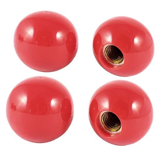 X-DREE Red Plastic Round 40mm Diameter Female Threaded Ball Lever Knob 4 Pcs(Perilla roscada hembra de bola roscada de 40 mm de diámetro, de plástico rojo', 4 pzas