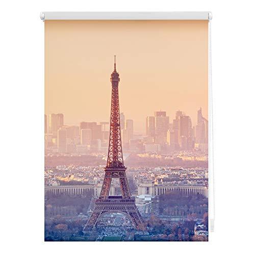 Lichtblick Rollo Klemmfix, 120 x 150 cm mit Motiv Eiffelturm - Orange Montage ohne Bohren, moderner Sicht-und Sonnenschutz, Motivrollo, lichtdurchlässig & Blickdicht