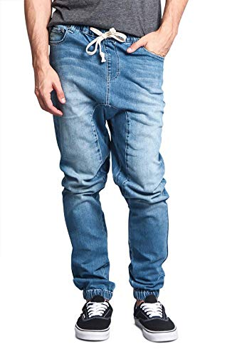 Victorious Men's Drop Crotch Joggers Denim Jean Pants JG803 - Light Indigo - Large