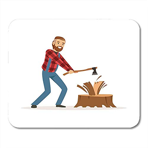 QDAS Karikatuur-Volwassene Houten valer man in Checkechopping hout met bijl karakter-baard muisonderlegger voor notitieboeken muismatten