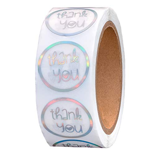 Holographic Thank You Stickers - 500 Holographic Sticker, 1.5' Rainbow Color Business Labels, Party Favor, Boutique Shop Supplies, Gift Label, Wedding, Baby Shower Cute Holo Round