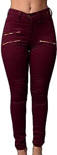 Womens Fit Zipper Pencil Solid High Waist Trousers Pants