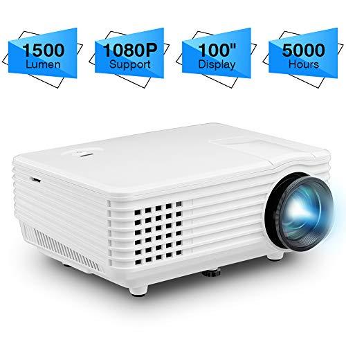 Denash Mini Beamer Projektor, 1500 Lumen 60-100 Zoll große Projektionswand Smart LED Projektor Unterstützt 1080P,Projizieren Sie Ihr Notebook gleichzeitig über HDMi/VGA