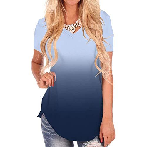 LRWEY Camiseta de manga corta con cuello en V para mujer, estilo casual, color degradado