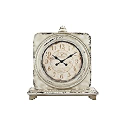 Stonebriar Victoria Station Table top Clock, Off White