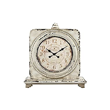 Stonebriar Large 12 Inch Square Antique White Victoria Station Table Top Clock, French Country and Shabby Chic Home Decor Accent for Living Room, Office, Kitchen, or Bedroom, Battery Operated