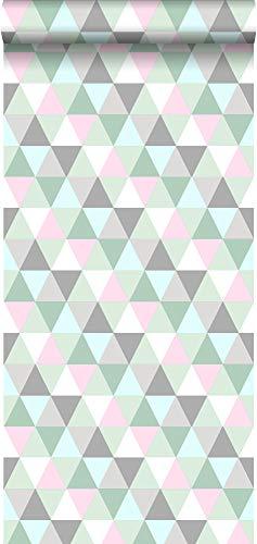 Tapete Dreiecke Rosa, Mintgrün und Grau - 128706 - von ESTAhome.nl