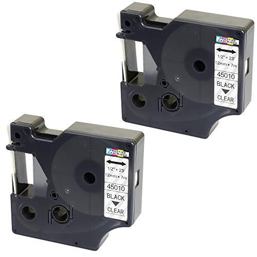 2X Schriftband-Kassetten D1 45010 S0720500 schwarz auf farblos 12mm x 7m kompatibel für DYMO LabelManager LM 160 210D 220P 260P 280 360D 420P 500TS PnP MobileLabeler LabelPoint LabelWriter 450 Duo