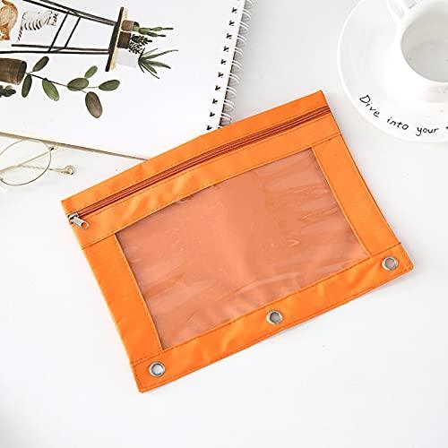 LZYMLG Estuche para lápices con cremallera B5, transparente, gran capacidad, para artículos escolares, facturas, archivos, papelería, color naranja 25 x 18 cm