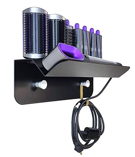 Kyrio Haartrockner Eisstockschießen Halterung für Dyson Airwrap Styler Lockenwickler und 7 Lockenfässer Wandhalterung Ständer Halter Aufbewahrungsgestell für Badezimmer