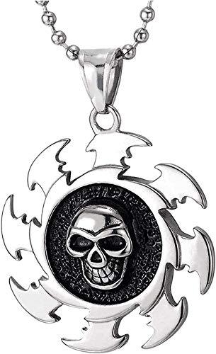 Aluyouqi Co.,ltd Collar con Colgante de Medalla de Hoja de Sierra de Calavera de Acero Inoxidable para Hombre con Cadena de Bola de Esmalte Negro de 30 Pulgadas