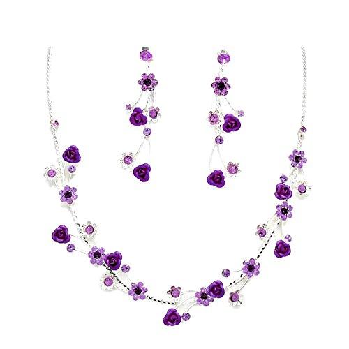 Schmuckanthony Glamour boda cóctel novia joyas Set plata collar cadena larga pendientes metal rosa flores cristal morado púrpura
