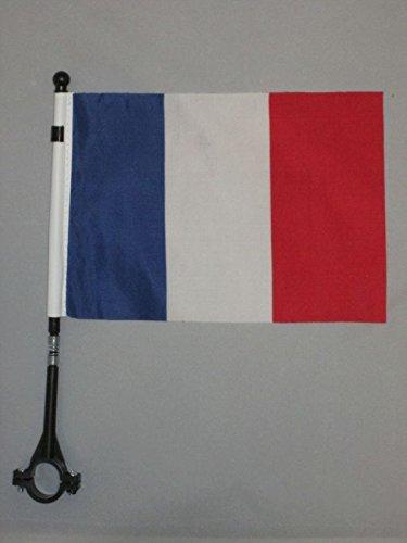 AZ FLAG Drapeau de vélo France 21x14cm - Petit Bike Flag français 14 x 21 cm