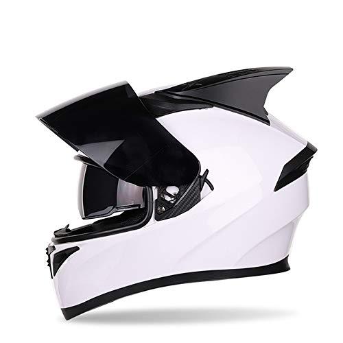 Motorradhelm Integral Street Bike Helm Doppel Sonnenblende Racing Locomotive Black Lens + Dekorative Ecke, Jugend Erwachsener Helm,Weiß,XL