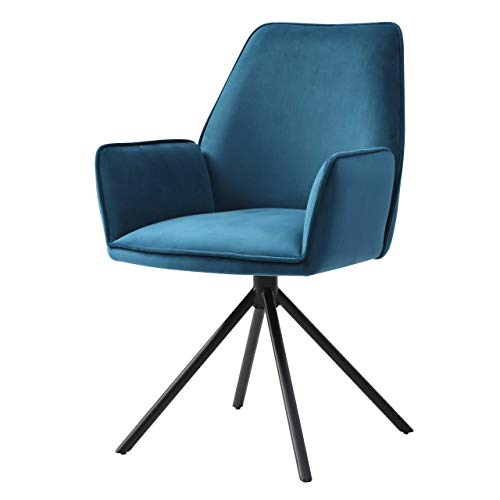 Mendler Esszimmerstuhl HWC-G67, Küchenstuhl Stuhl mit Armlehne, drehbar Auto-Position - Samt, türkis-blau
